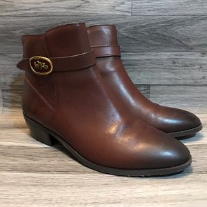 Coach Dylan Brown Leather Ankle Booties